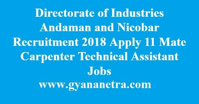 Directorate of Industries Andaman and Nicobar Recruitment