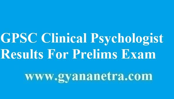 GPSC Clinical Psychologist Results 2018