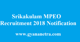 Srikakulam MPEO Recruitment 2018