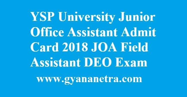 YSP University Junior Office Assistant Admit Card