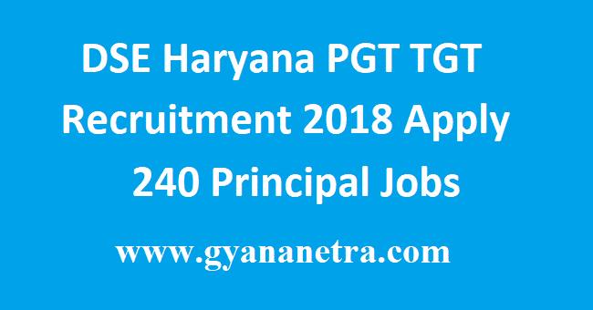 DSE Haryana PGT TGT Recruitment