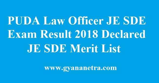 PUDA Law Officer JE SDE Exam Result