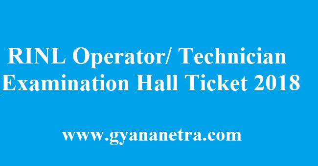 RINL Operator Technician Hall Ticket 2018