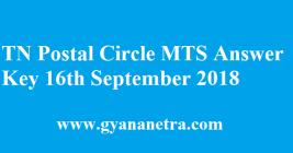 TN Postal Circle MTS Answer Key 16th September 2018