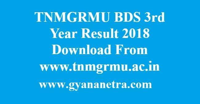 TNMGRMU BDS 3rd Year Result