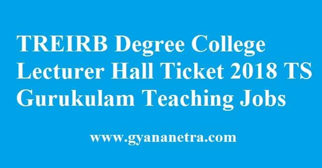 TREIRB Degree College Lecturer Hall Ticket