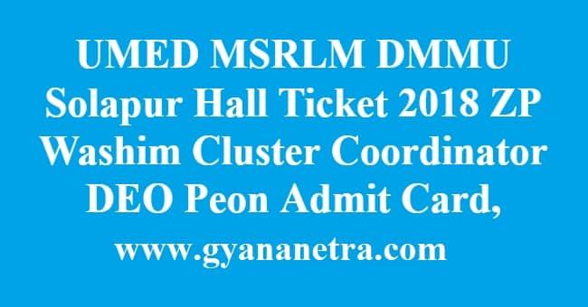 UMED MSRLM DMMU Solapur Hall Ticket