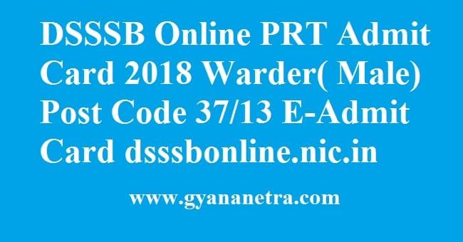 DSSSB Online PRT Admit Card