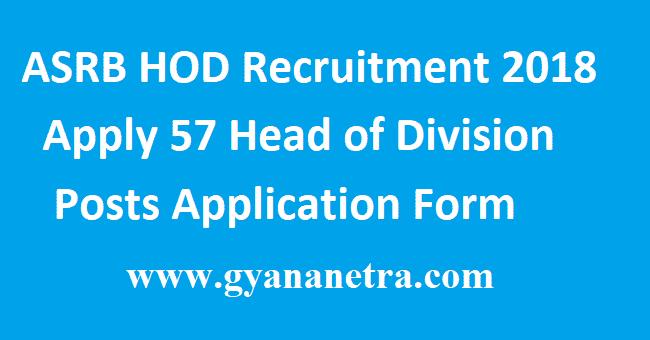 ASRB HOD Recruitment 2018