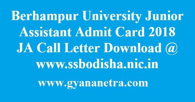 Berhampur University Junior Assistant Admit Card