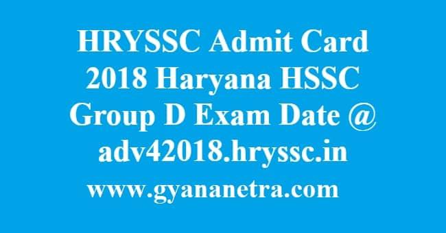 HRYSSC Admit Card