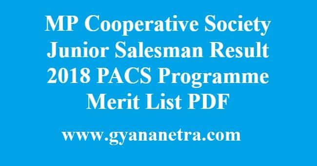 MP Cooperative Society Junior Salesman Result