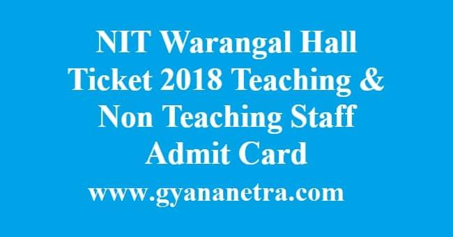 NIT Warangal Hall Ticket