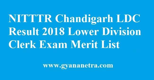 NITTTR Chandigarh LDC Result