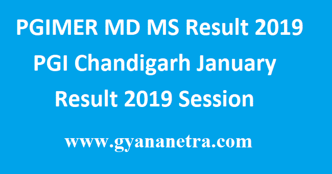 PGIMER MD MS Result 2019