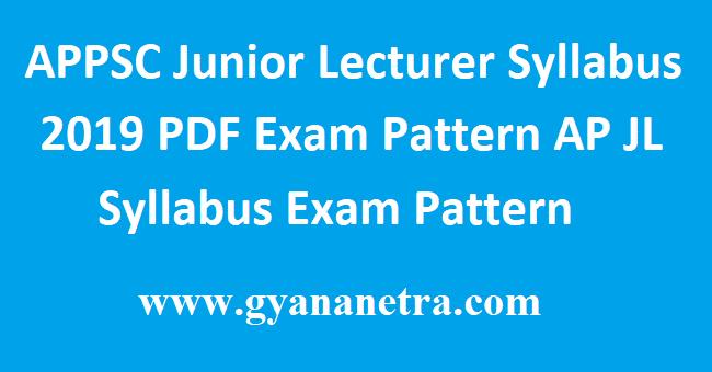 APPSC Junior Lecturer Syllabus