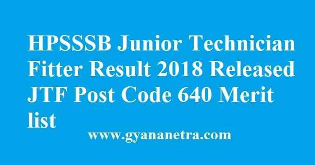 HPSSSB Junior Technician Fitter Result