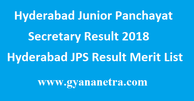 Hyderabad Junior Panchayat Secretary Result
