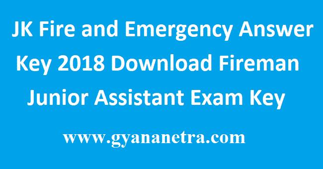 JK Fire and Emergency Answer Key 2018