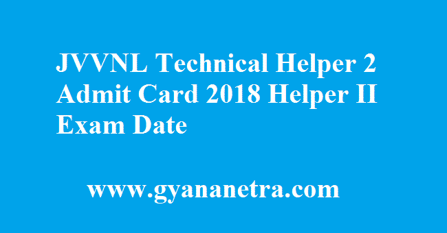 JVVNL Technical Helper 2 Admit Card