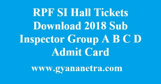 RPF SI Hall Tickets
