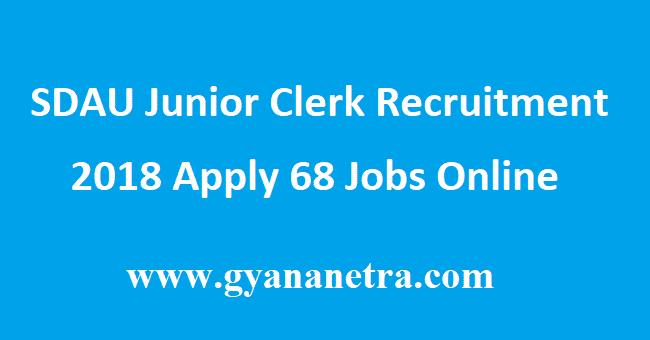 SDAU Junior Clerk Recruitment