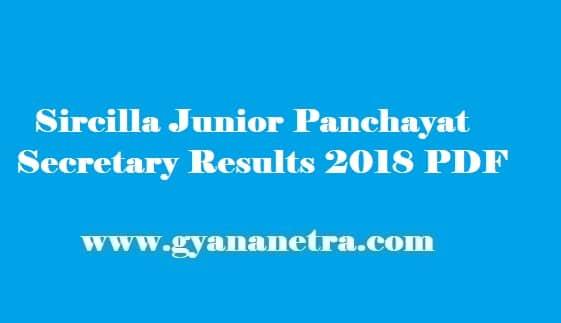 Sircilla Junior Panchayat Secretary Results 2018