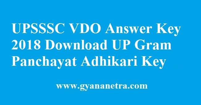 UPSSSC VDO Answer Key