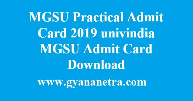 MGSU Practical Admit Card