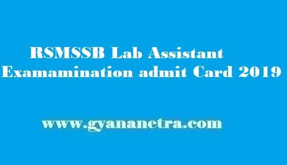 RSMSSB Lab Assistant Admit Card 2019