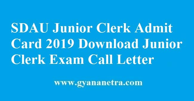 SDAU Junior Clerk Admit Card