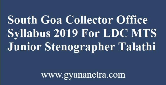 South Goa Collector Office Syllabus