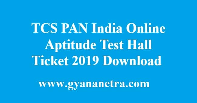 TCS PAN India Online Aptitude Test Hall Ticket