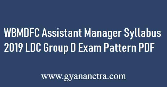 WBMDFC Assistant Manager Syllabus 2019