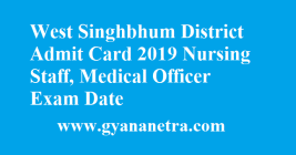 West Singhbhum District Admit Card