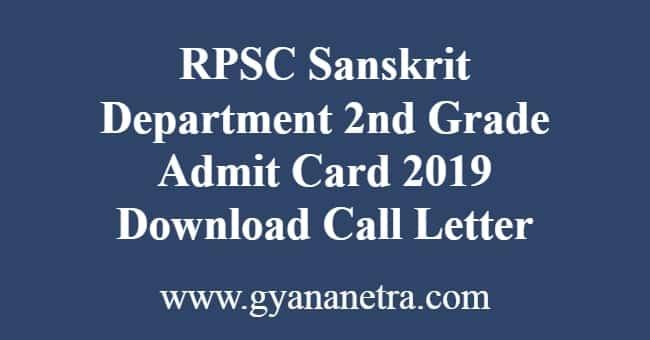 RPSC Sanskrit Department 2nd Grade Admit Card