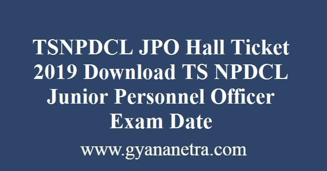 TSNPDCL JPO Hall Ticket