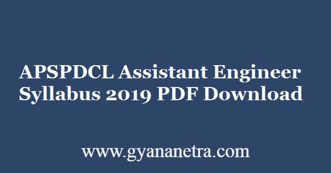 APSPDCL Assistant Engineer Syllabus 2019