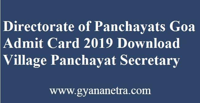 Directorate of Panchayats Goa Admit Card