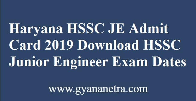 Haryana HSSC JE Admit Card