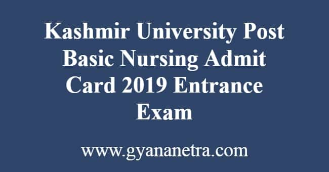 Kashmir University Post Basic Nursing Admit Card