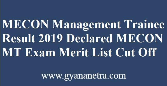 MECON Management Trainee Result
