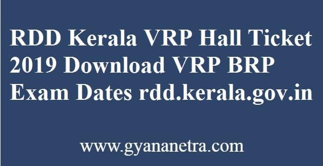 RDD Kerala VRP Hall Ticket