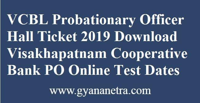 VCBL Probationary Officer Hall Ticket