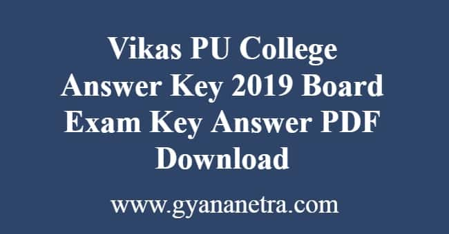 Vikas PU College Answer Key