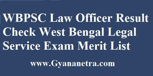 WBPSC Law Officer Result