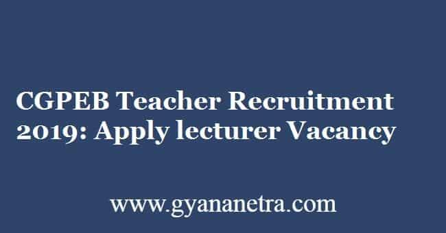CGPEB Teacher Recruitment 2019