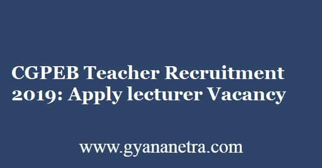 CGPEB Teacher Recruitment 2019