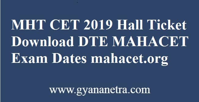 MHT CET 2019 Hall Ticket