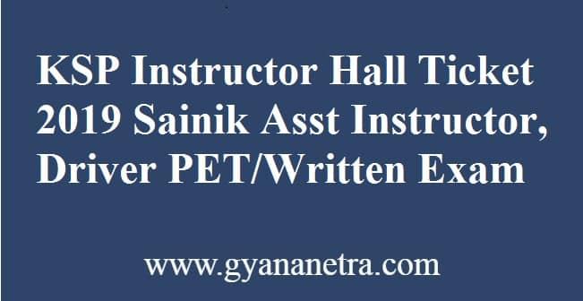KSP Instructor Hall Ticket